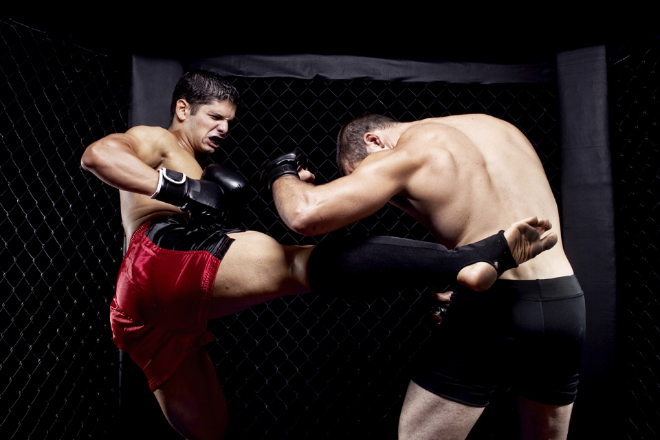 Mixed martial artists fighting - kicking
