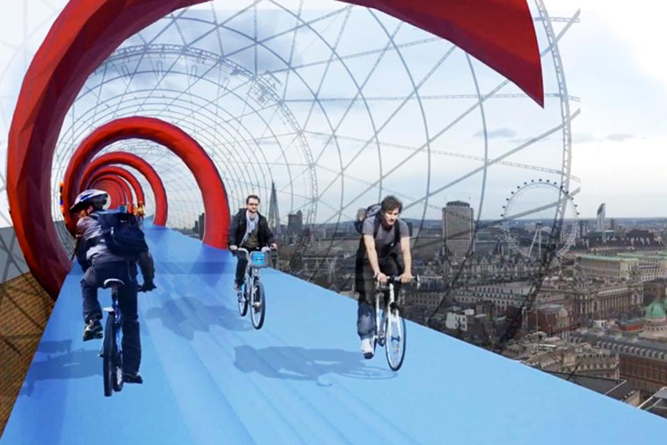 Jeden z návrhov veľkolepého cykloprojektu Londýna