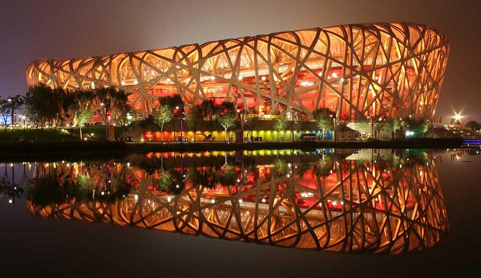 """Pekingský národný štadión """"Vtáčie hniezdo"""" (Čína)"""