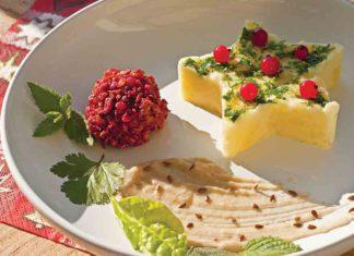 Cviklovo-krúpové guľky s kyslou hríbovou omáčkou a zemiakmi